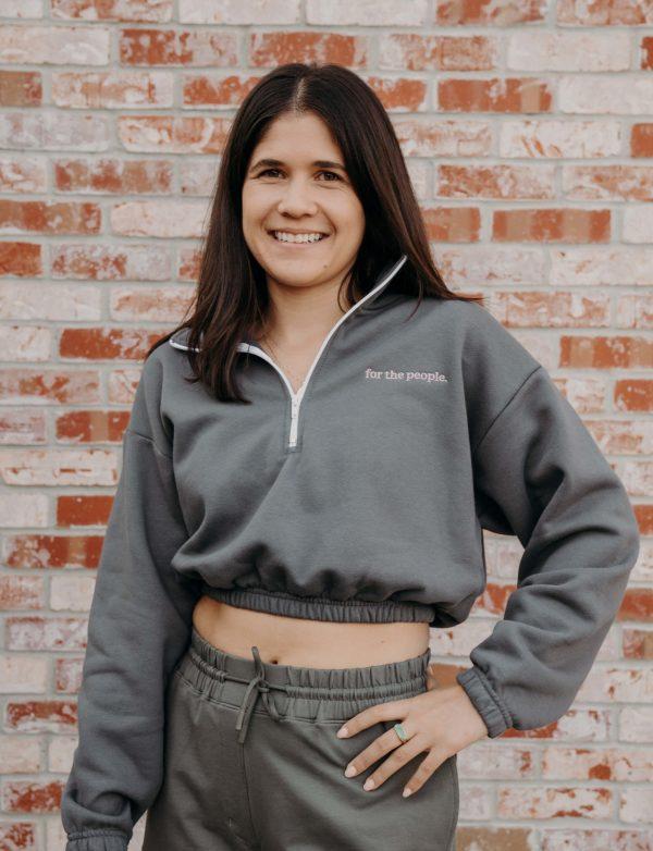 ftp. Fleece Half Zip Cropped Pullover In Gray