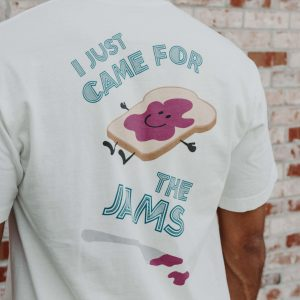 """""""Came For The Jams"""" Crew Neck Short Sleeve Tshirt In White"""