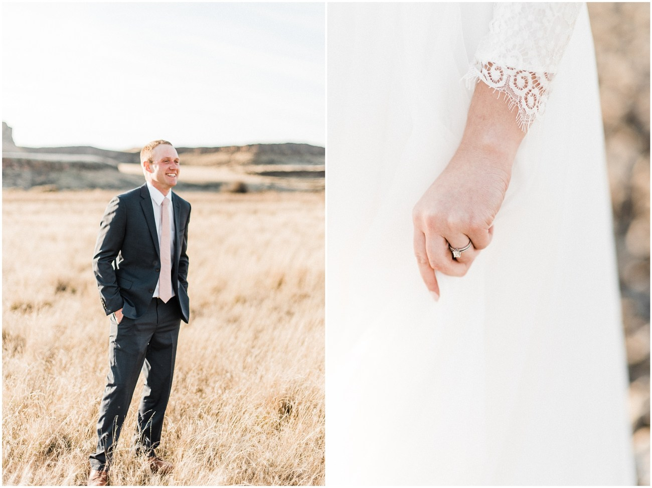 Diptych of Central Washington Desert Bridal Session by Forthright Photo