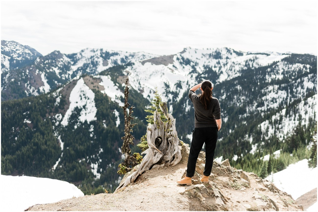 Laura looking out at Hurricane Ridge in Olympic National Park by Forthright Photo