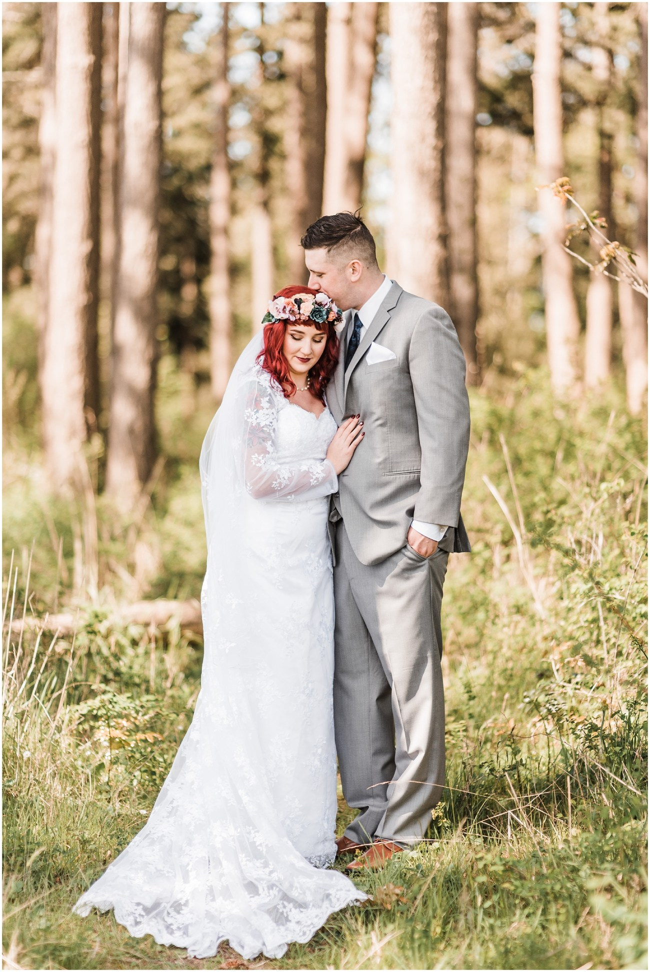 Photo of a bride and groom in a sunny, seaside forest in Bayview, WA