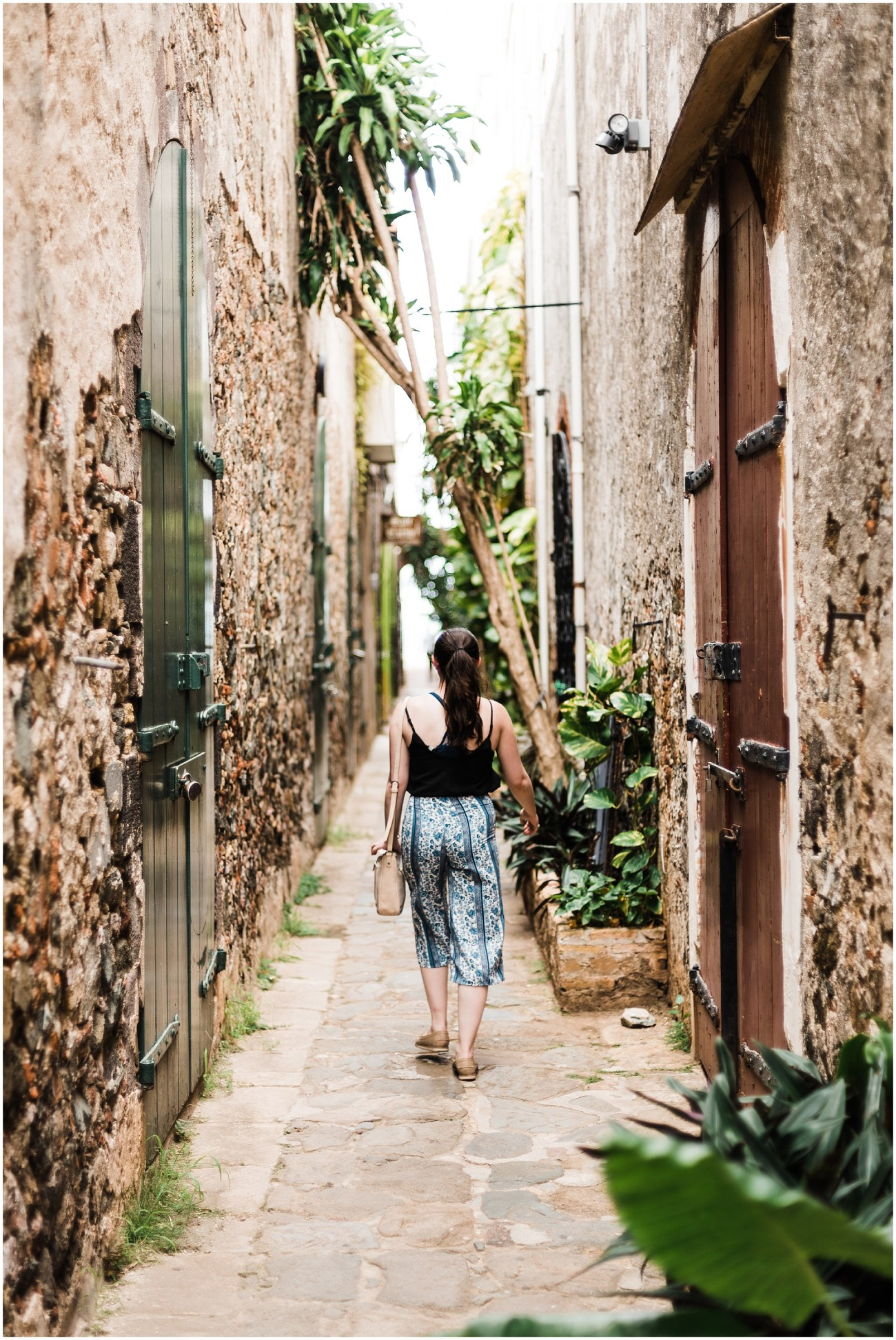 Photo of Laura walking in the alleys of Charlotte Amalie, St. Thomas, US Virgin Islands