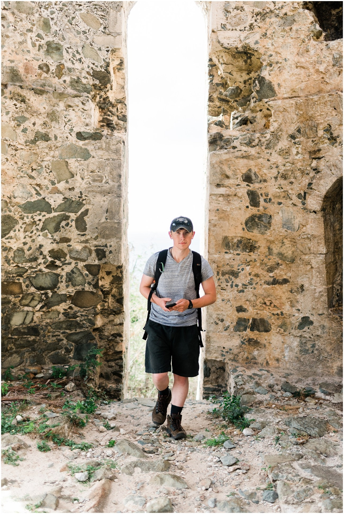 Photo of Devon inside an abandoned sugar plantation ruin in the Virgin Islands National Park, St John USVI