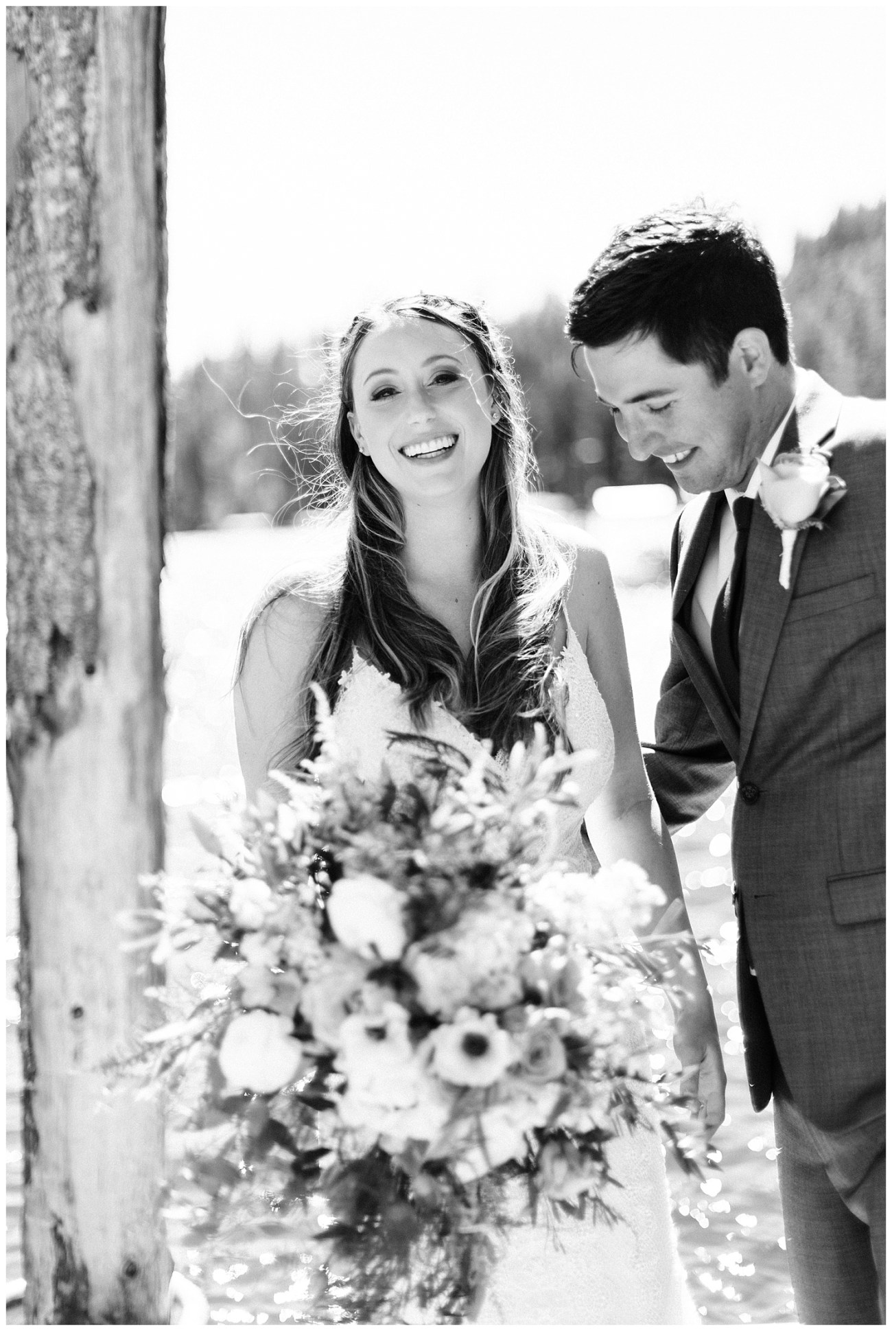 Black and White Portrait of a bride & groom at their Lake Coeur d'Alene Wedding by Forthright Photo