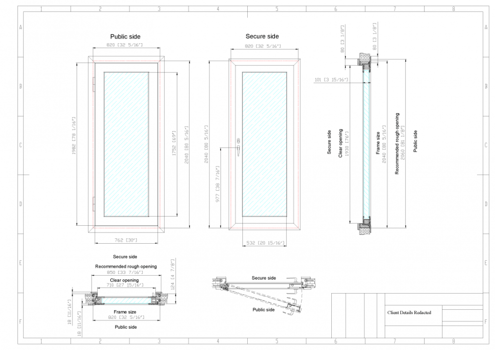 Example shop drawings of casement ballistic window
