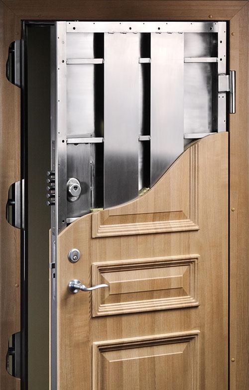 Cross section of residential panic room door