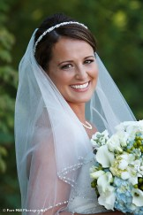 Fall Bride with blue flowers