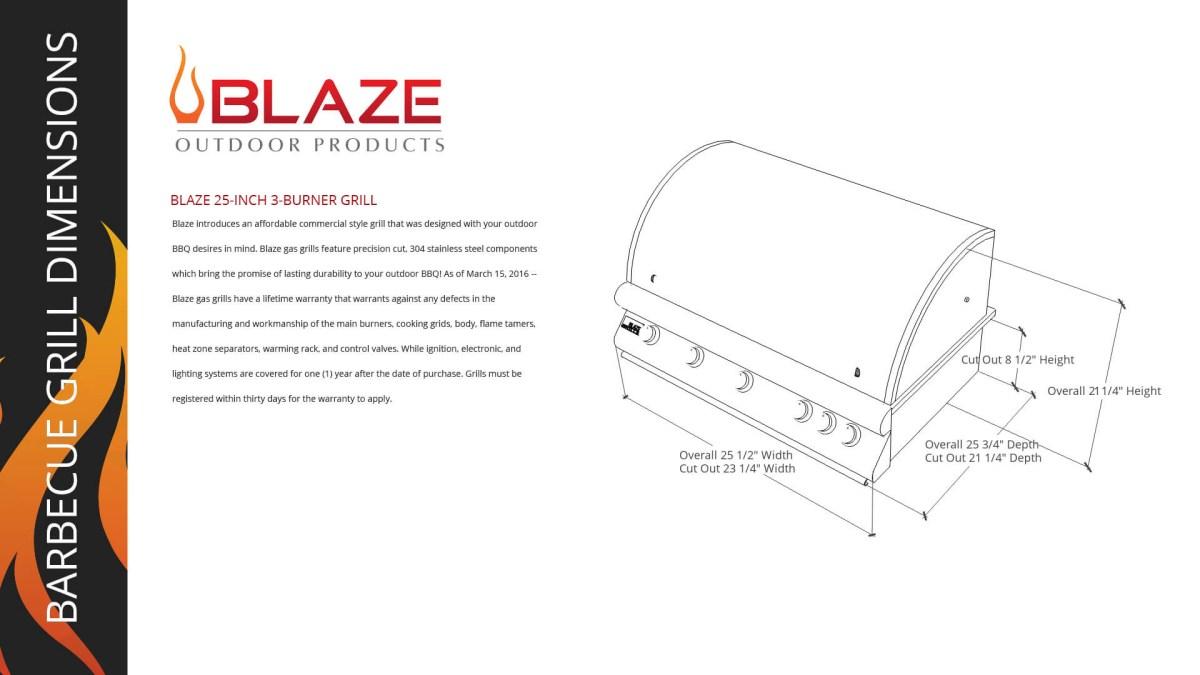 Blaze 25 Inch 3-Burner Grill-Opt