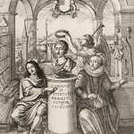 Frontispeice to Thomas Sprat's A History of the Royal Society. 1667. Francis Bacon, right. Image: Wiki
