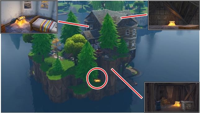 ルート・レイクの中央にある一軒家と島にある宝箱の位置