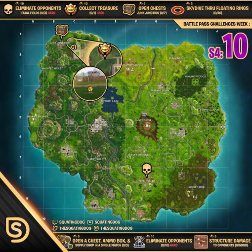Cheat Sheet Map for Fortnite Battle Royale     Week 10 Challenges     Fortnite map cheat sheet season 4 week 10 challenges