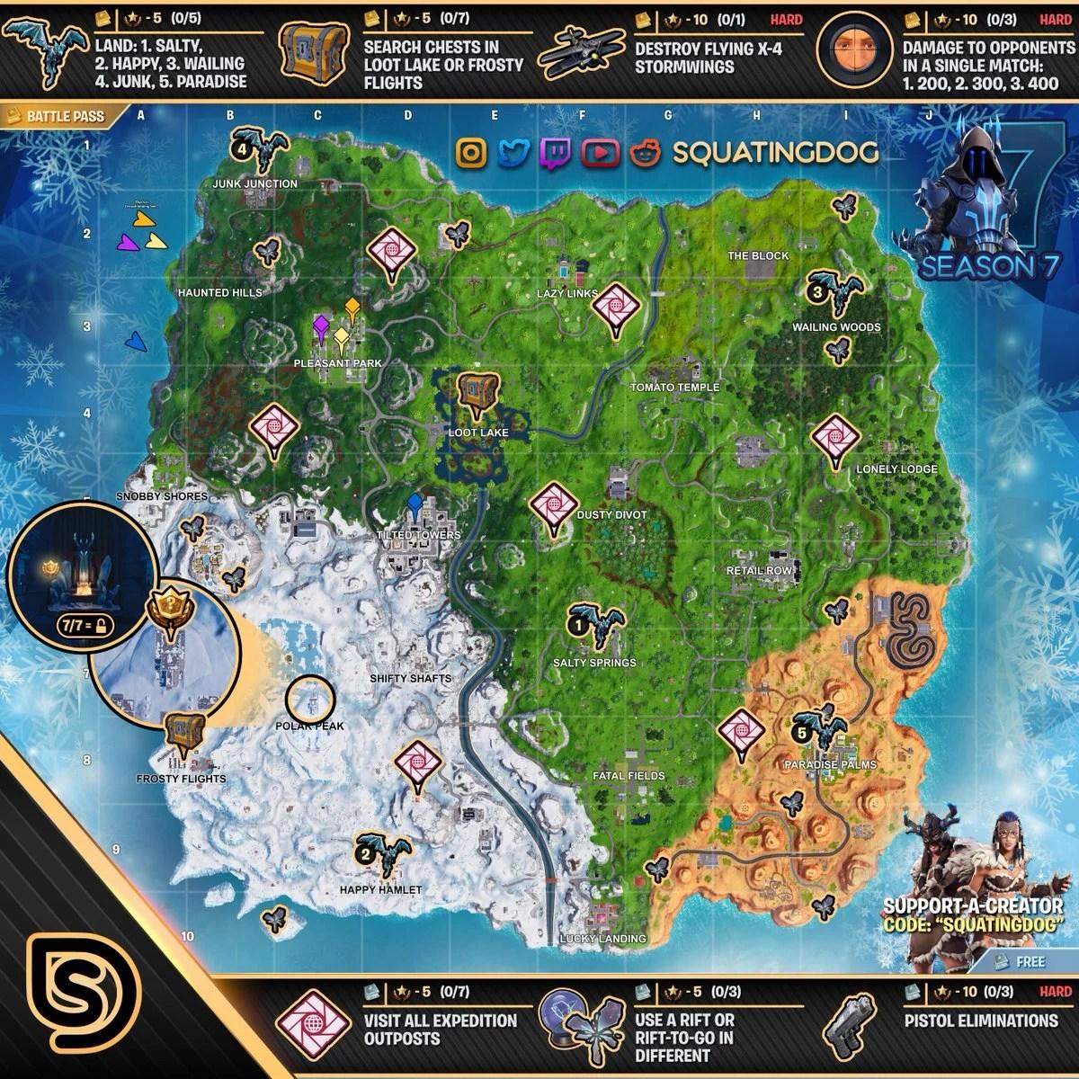 Fortnite Temporada 7 Mapa.Todas Las Hojas De Trucos De Fortnite Para Completar Los
