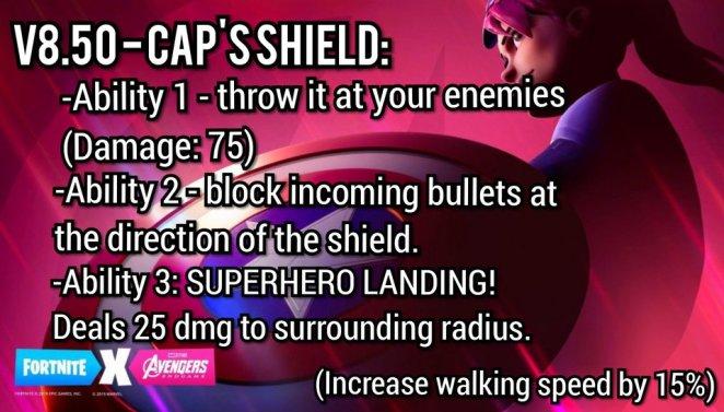 fortnite captain america shield abilites via reddit user gamebrine032 - fortnite x avengers teaser