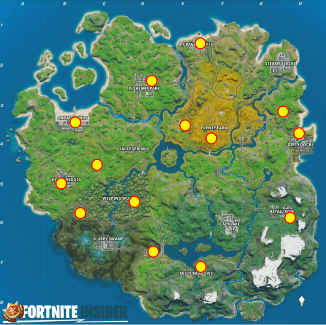 Fortnite Weapon Upgrade Bench Map Locations