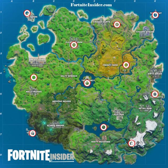 Fortnite All Helicopter Spawn Locations Map