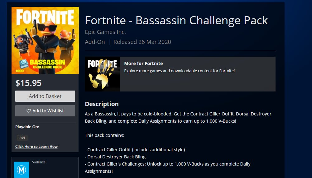 Fortnite Bassassin Challenge Pack PlayStation Store NZ