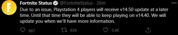 Fortnite PS4 Update Delayed