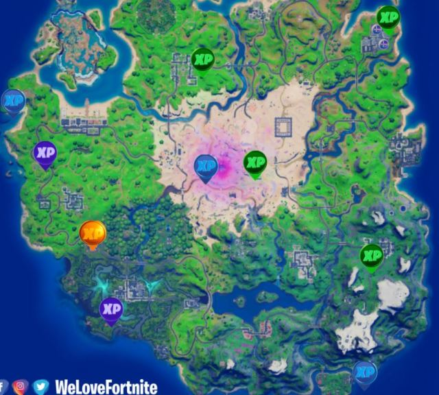 Fortnite season 5 week 9 xp coins locations map