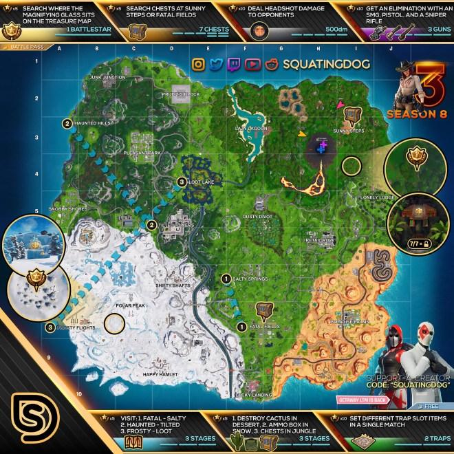 Fortnite Season 8 Week 3 Cheat Sheet Map
