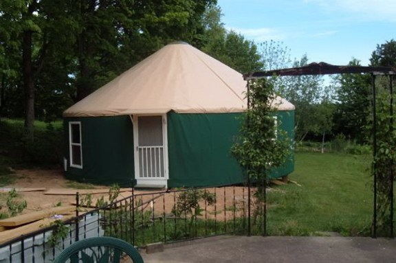 30 ft. yurt in backyard