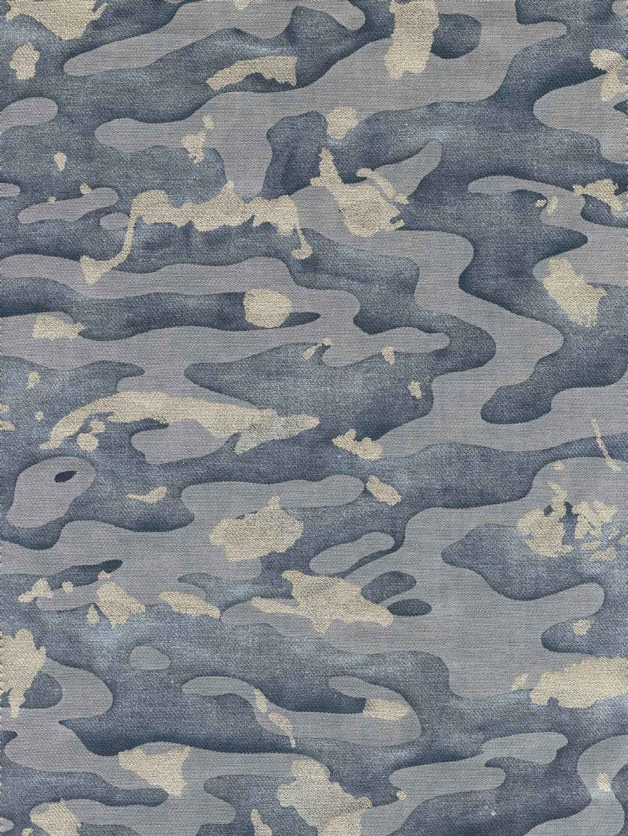 Camo Isole In Faded Blue Amp Silvery Gold Texture Fortuny