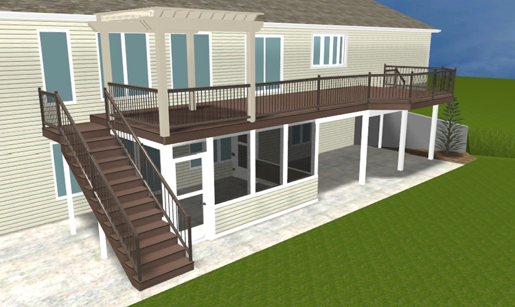 A Brand New Ft Wayne Area Second Story Deck With Pergola And Lower | Two Story Deck Stair Designs | Building | Modern | House | Decking | Split Level