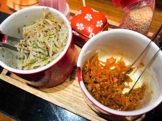 seasoned bean sprouts and spicy pickled cabbage
