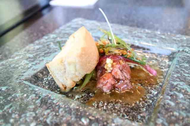 Beef tartare from Filipino Tikim Dinner at Brokin Yolk, Calgary