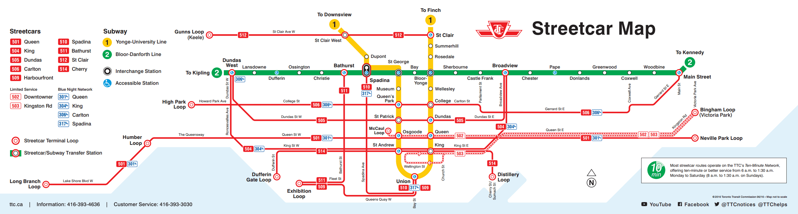 Toronto TTC Streetcar Map - Get Around Toronto