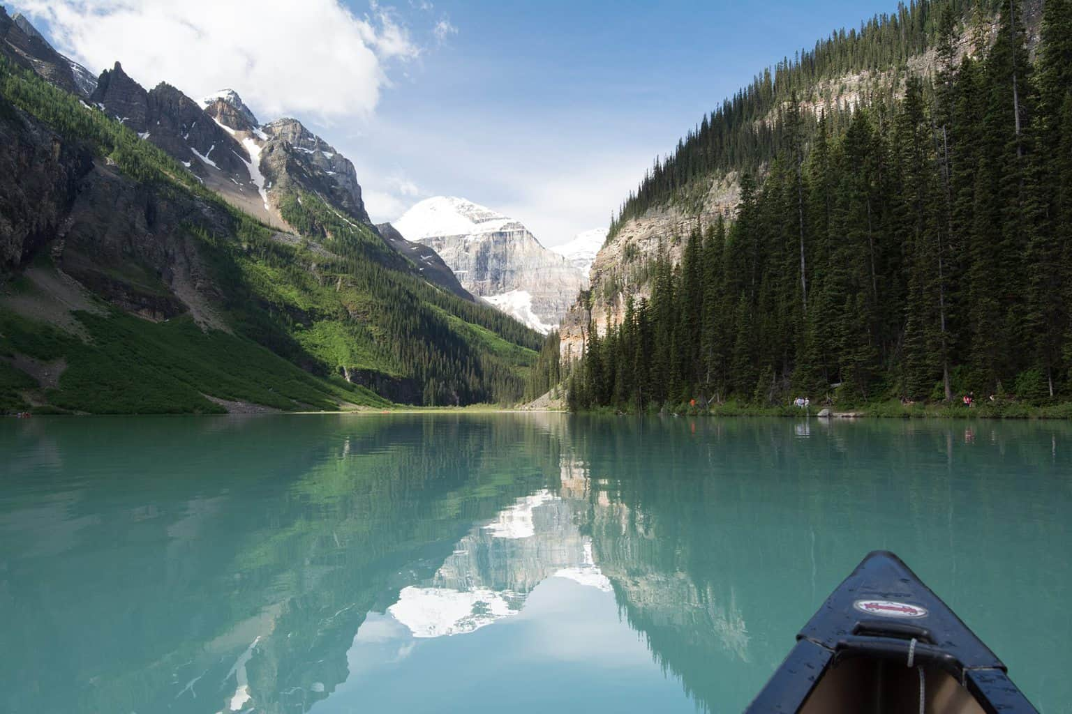 Canoeing on Lake Louise in the Canadian Rockies
