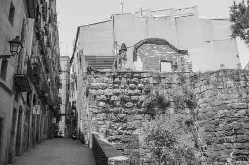 roman ruins in gothic quarter, barcelona
