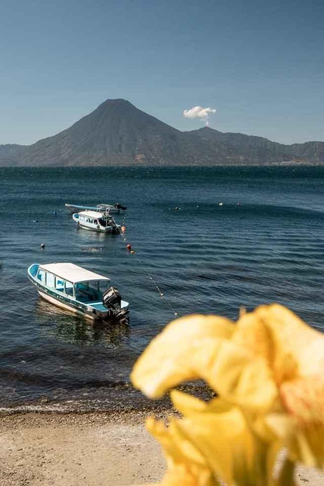 Lake Atitlan Guatemala, overlooking volcano Atitlan, Toliman, and San Pedro