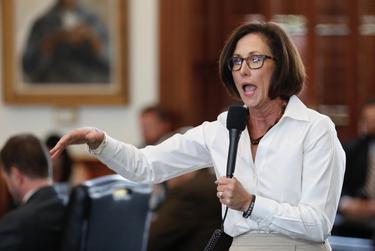 """State Sen. Lois Kolkhorst, R-Brenham, refutes a point of order raised by Sen. Kirk watson, D-Austin, against the """"bathroom bill."""""""