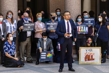 Equality Texas CEO Ricardo Martinez speaks in support of transgender rights at the Texas Capitol on April 12. Texas is one of several states whose legislatures have pushed bills limiting transgender people's sports participation health care options.