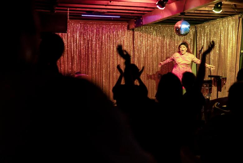 Drag queen Casady Milan performs at Long Play Lounge in East Austin on June 12, 2021.