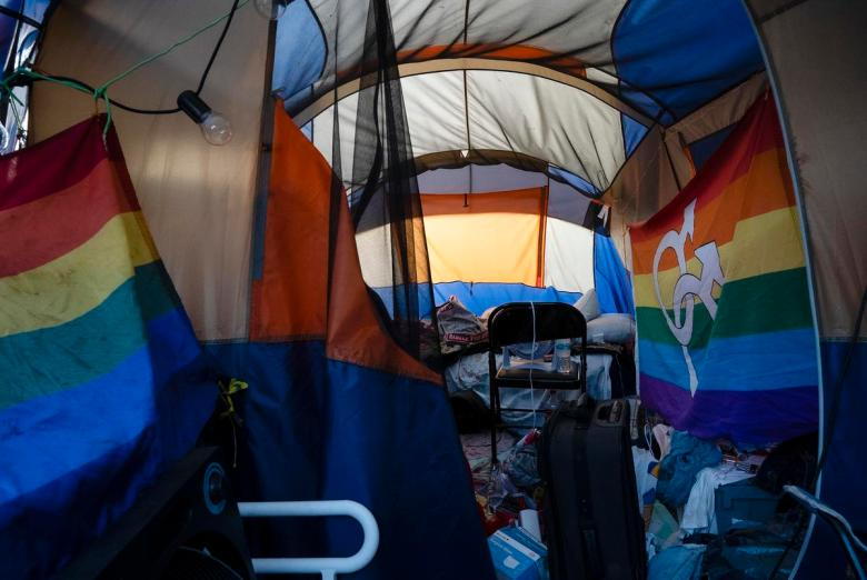 The interior of the tent belonging to Adam Cartwright, a person experiencing homelessness on E. Cesar Chavez on June 16, 2021.