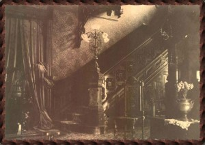 The grand staircase at the Logan Mansion in 1897