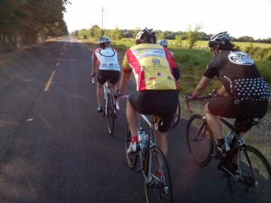 A photo of a group of road cyclists