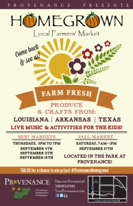 A promotional flyer for a farmers' market
