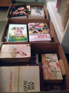 A photo of several boxes of books
