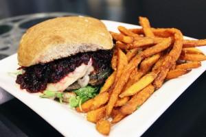 A photo of a turkey burger