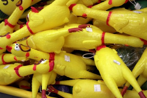 A photo of rubber chickens