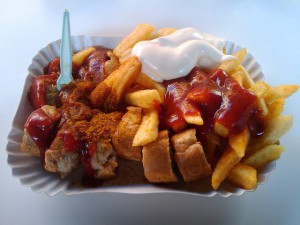 A photo of currywurst