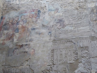 Evidence of the Roman occupation. The hieroglyphs were plastered over and a fresco painted on it. Photo by Tricia.