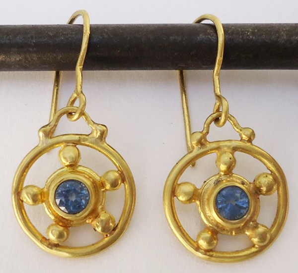 Sapphire wheel earrings