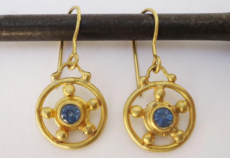 Sapphire wheel earrings