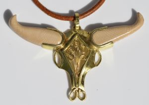 Bull Skull Pendant fabricated of 20K & 24K gold and mammoth ivory