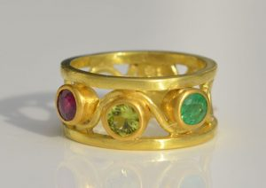 3 Children Birthstone Ring