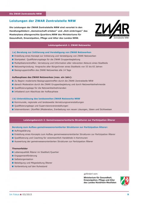 Ablaufdiagramm Leistungen der ZWAR Zentralstelle NRW