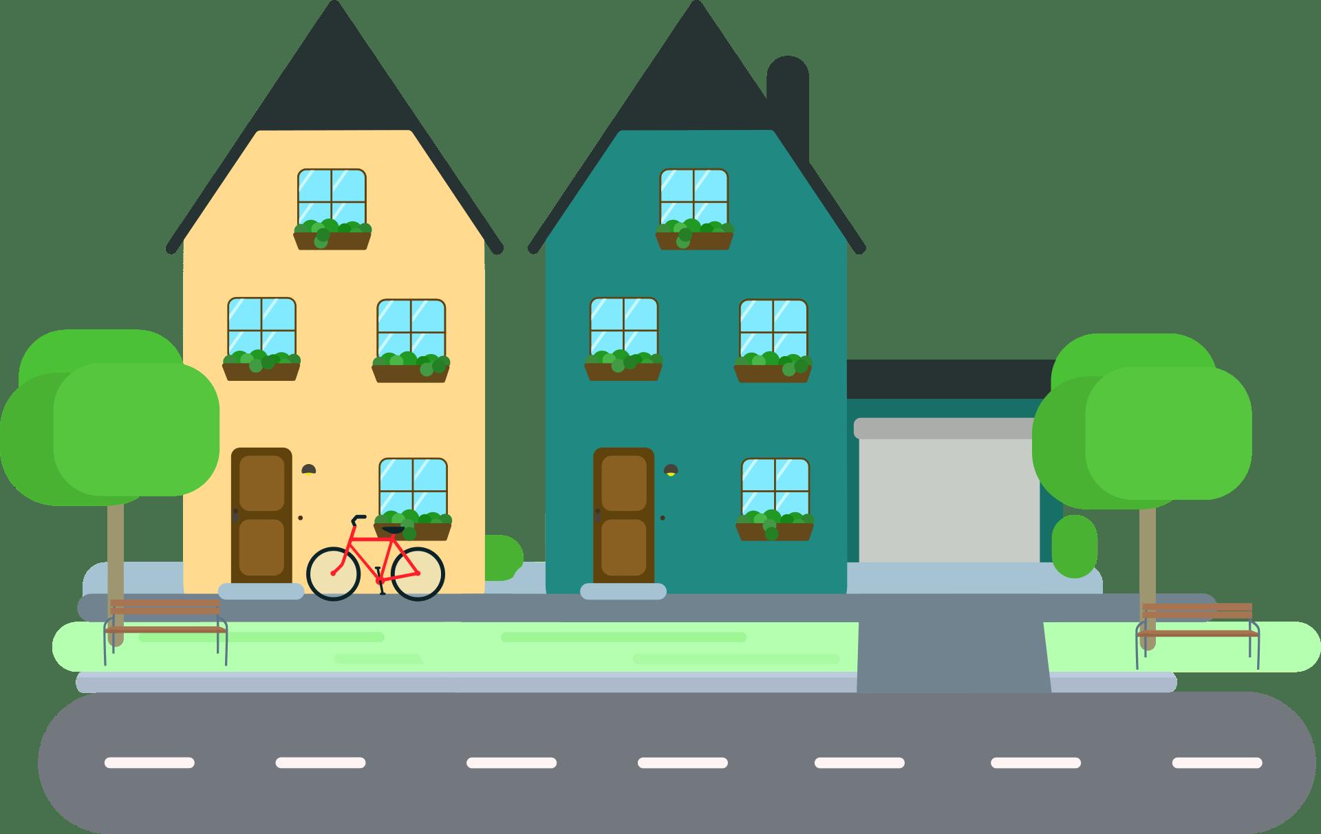 Abbildung einer Nachbarschaft